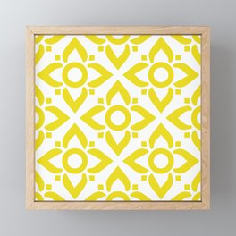 illustration decorative yellow and white seamless vector pattern floral motifs Framed Mini Art Print