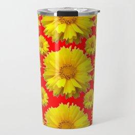 "YELLOW COREOPSIS ""TICK SEED"" FLOWERS RED PATTERN Travel Mug"