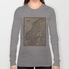 Vintage Map of Scandinavia (1857) Long Sleeve T-shirt
