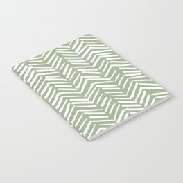 Boho Herringbone Pattern, Sage Green and White Notebook