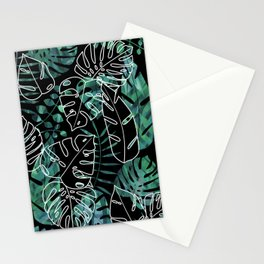 Dark tropical leaves pattern Stationery Cards