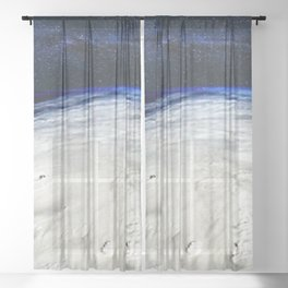 Satellite View of Hurricane and Milky Way Digital Photography by Jéanpaul Ferro Sheer Curtain