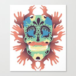 Skull and Hands Canvas Print