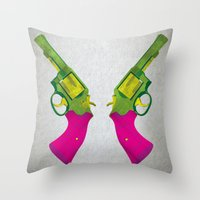 guns Throw Pillows featuring Play Guns by kakin