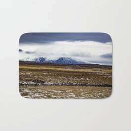Snowy Mountain Across the Icy Tundra in Iceland Bath Mat