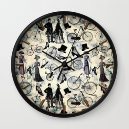Victorian Bicycles and Fashion Wall Clock