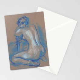 Blue Nude, Woman with a Sword, Life Sketch, Pastel Drawing Stationery Cards