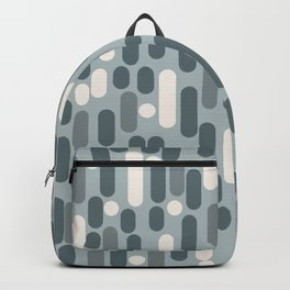 Morningside Heights Mid Mod Pattern in Light Blue-Gray and Cream Backpack