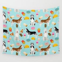 Husky siberian huskies junk food cute dog art sweet treat dogs pet portrait pattern Wall Tapestry