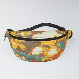 psychedelic geometric painting texture abstract in yellow brown red blue Fanny Pack