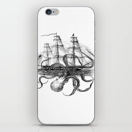 Octopus Attacks Ship on White Background iPhone Skin
