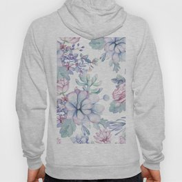 Pretty Blue Pink Succulents Garden Hoody