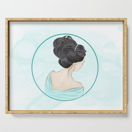 Brunette with a beautiful hairstyle  Serving Tray