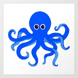 Octopus (Blue) Art Print