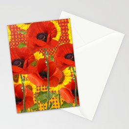 ORANGE POPPIES YELLOW SUNFLOWERS ART Stationery Cards