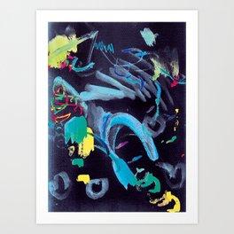 Scribbles Paint Blue Black Art Print
