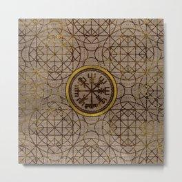 Vegvisir. The Magic Navigation Viking Compass Metal Print