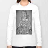 lara croft Long Sleeve T-shirts featuring Ms. Croft by Bungle