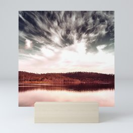 Big Sky Scenic Hills With Dramatic Lake Reflections Mini Art Print