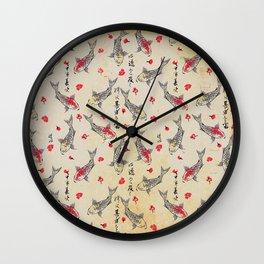 Vintage Japanese Paper: Koi Fish Pattern Wall Clock