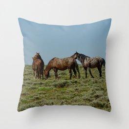 Wyoming Wild_Horses - I Throw Pillow