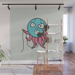On the phone Wall Mural