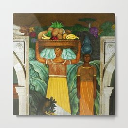 Tehuana Women Bringing Fruit to Market by Diego Rivera Metal Print