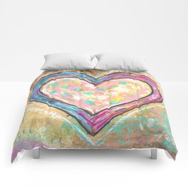 blue and pink hearts Comforters