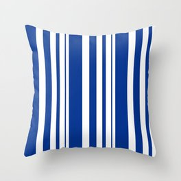 White and blue striped . Throw Pillow