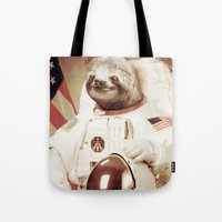 astronaut Tote Bags featuring Sloth Astronaut by Bakus