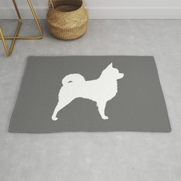 White Long Haired Chihuahua Silhouette Rug