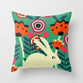 Little bunny in spring Throw Pillow
