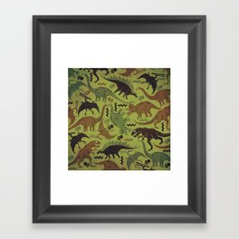 Camouflage Dinosaur Geometric Pattern Framed Art Print