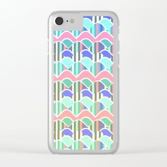Colorful waves- upside down Clear iPhone Case