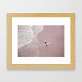 Surfer on pink beach, large print, surf photography, Beach Wall Art, Ocean Water Surfing, Beach Wave Framed Art Print