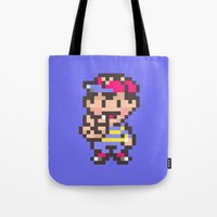 earthbound Tote Bags featuring Ness (Peace) - Earthbound / Mother 2 by Studio Momo╰༼ ಠ益ಠ ༽