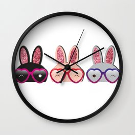 Love Bunnies Wall Clock