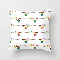 Birds on branches in spring Throw Pillow