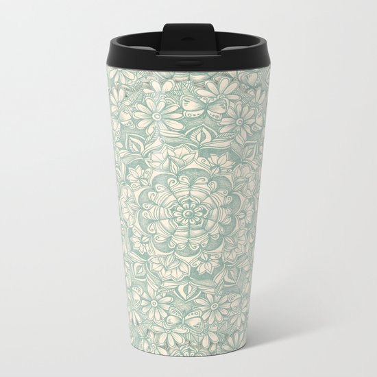 Sage Medallion with Butterflies & Daisy Chains Metal Travel Mug