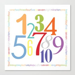 Numbers Square - Bright colorway Canvas Print