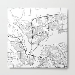 Gatineau Map, Canada - Black and White Metal Print