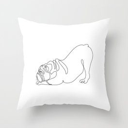 One line English Bulldog Downward Dog Throw Pillow