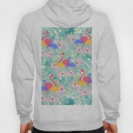 Tropical pink green watercolor floral colorful flamingo bird Hoody