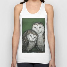 Soul Mates // Barn Owls Owl Bird Feather Wing Nature Love Animal Wild Nest Couple Marriage Family Unisex Tank Top