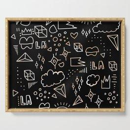 Black Doodles in Flow Serving Tray