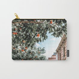 Orange Tree, Orange Fruits Print, Barcelona City Print, Oranges Art Print, Urban Travel Photography, Summer Tropical Print Carry-All Pouch