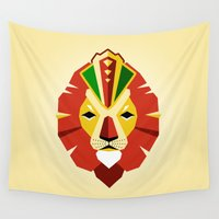 rasta Wall Tapestries featuring Rasta Lion by Emily Tyson