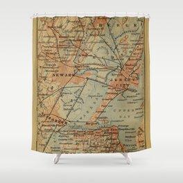 Vintage Jersey City, Newark, Elizabeth NJ Map (1894) Shower Curtain