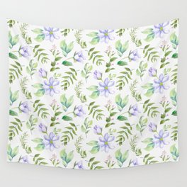Watercolor lavender lilac green hand painted floral Wall Tapestry