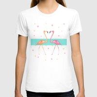 flamingos T-shirts featuring FLAmINGOs by Monika Strigel